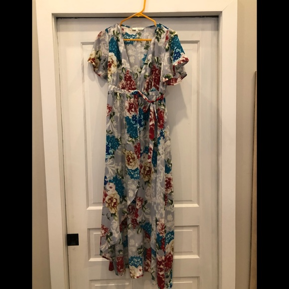 Floral wrap dress with high low hemline